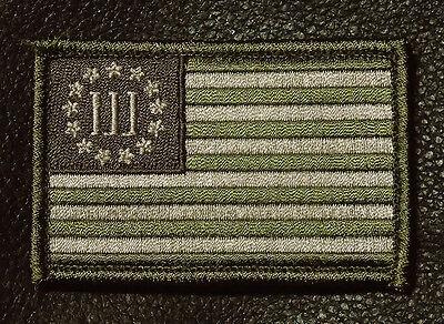 THREE 3% PERCENTER  flag Tactical combat 3 inch  hook 3 percent PATCH