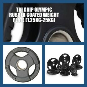 15KG-A-GRADE-CLUB-Series-Olympic-RUBBER-COATED-TRI-GRIP-Gym-Weight-Plate
