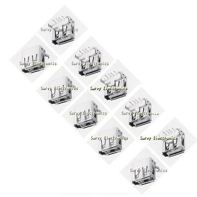5pcs USB Type-A 90° Right Angle 4-pin Female Connector Jacks Socket PCB Mount
