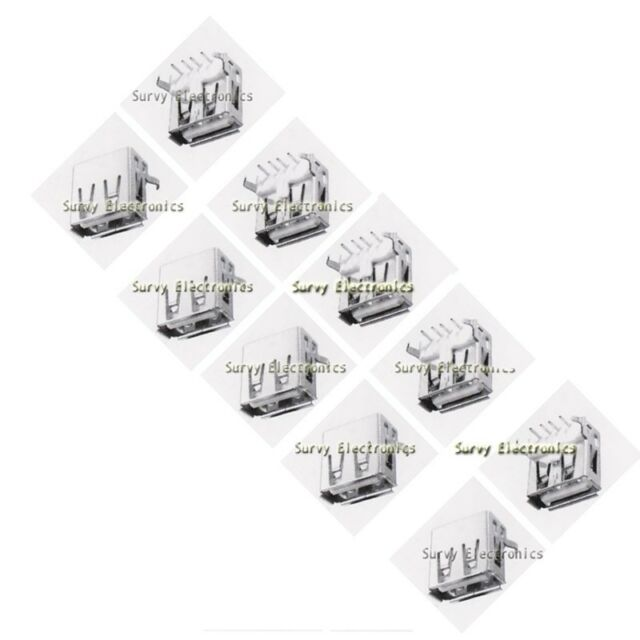 10pcs USB Type-A 90° Right Angle 4-pin Female Connector Jacks Socket PCB Mount