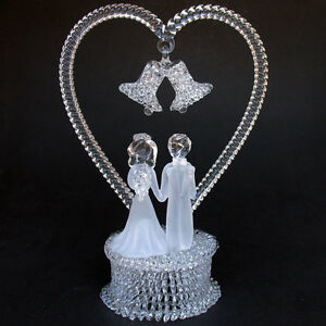 Bride-and-Groom-Figurine-Glass-Wedding-Cake-Top-Topper