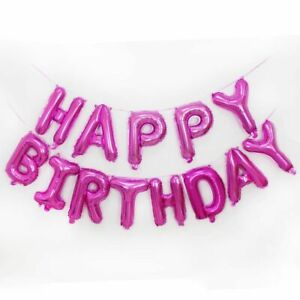 Pink-Happy-Birthday-Foil-Balloon-Bunting-Banner-Set-FREE-Straw-AND-Ribbon-5m