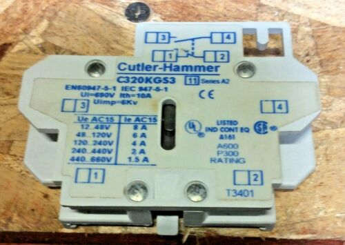 Cutler Freedom Series A2 N Eaton C320KGS3 Side Mount 1NO 1NC Auxiliary Contact