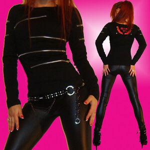 Stylisches-Punky-Gothic-langarm-Shirt-Vintage-Zipper-Reissverschluss-schwarz