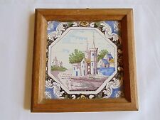 ANTIQUE 18TH C DUTCH POLYCHROME LANDSCAPE TILE
