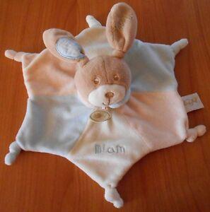 DOUDOU-Peluche-Babynat-039-Baby-nat-039-CHIEN-PLAT-BLEU-Forme-etoile-28-cm-D213