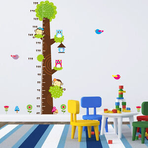Image Is Loading Cute Owl Kids Height Scale Tree Wall Decals
