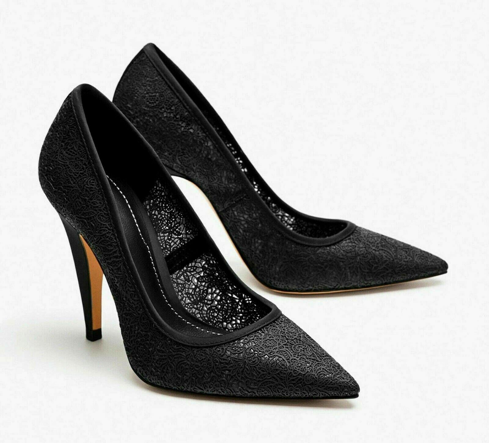 Zara noir caoutchouté Dentelle-Effet chaussures à Talon Haut Taille UK 6 EU 39 US 8