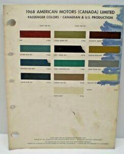 1968 AMERICAN MOTORS OF CANADA CAR COLOR PAINT CHIP CHART