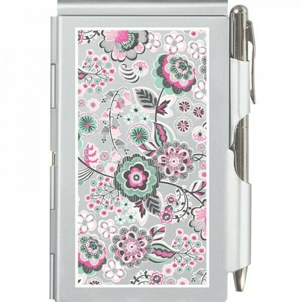 #1713 WHIMSICAL BLOOMS Flip Note w//Pen Pocket Purse Size Paper Pad Silver Flower