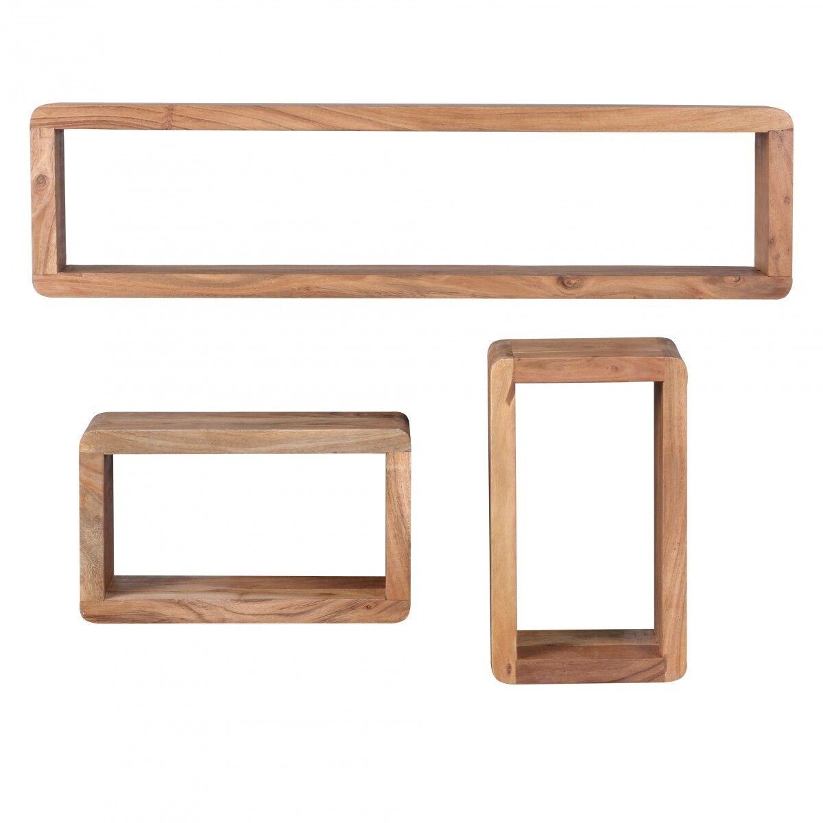 Muro scaffali librerie Cubo Scaffale 3er Set Buana legno massiccio acacia