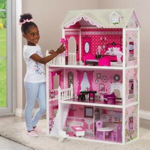 Girls Barbie Doll House Pink Decorated Dollhouse Furniture Dolls