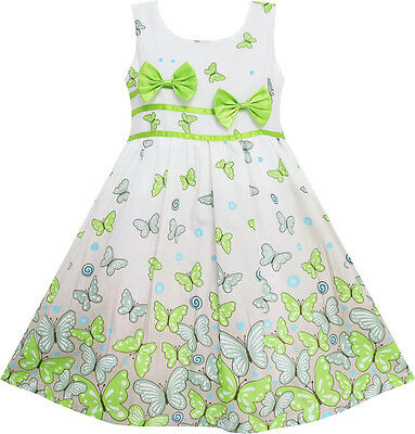 Sunny Fashion Girls Dress Butterfly Green Double Bow Tie Summer Beach 4-12 Y