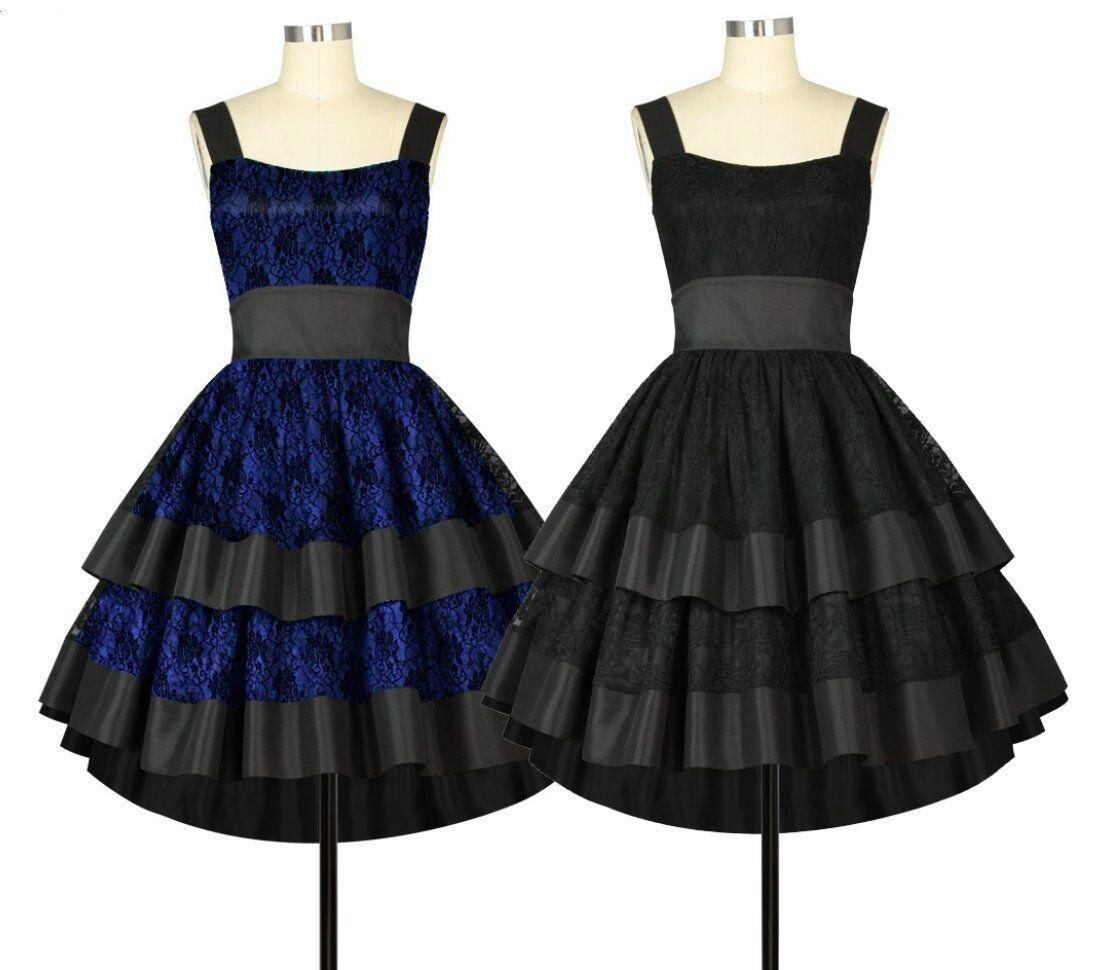 78500 CSTD Kleid Rockabilly mit Spitze 50er 60er Lolita Schwarz   Blau 36 bis 58