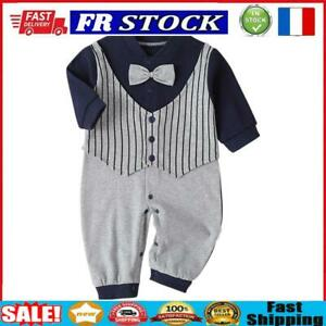 Baby Fashion Gentleman Rompers Stripe Cotton Soft Daily Jumpsuit (6-12M)