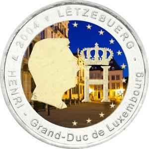 2-Euro-Gedenkmuenze-Luxemburg-2004-coloriert-mit-Farbe-Farbmuenze-Monogramm