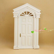 1/12 Dollhouse Miniature DIY Material painted white Wooden Luxury Exterior Door