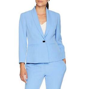 Kasper-Blazer-Jacket-Crepe-Blue-Women-Sz-8-NEW