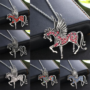 Pegasus-Unicorn-Flying-Horse-Crystal-Pendant-Chain-Necklace-Charm-Jewelry-Gifts