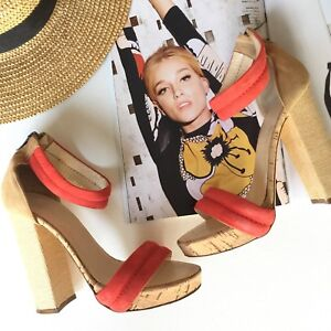 Bianca-Buccheri-Suede-Leather-39-Red-Orange-Platforms-Heels-Shoes