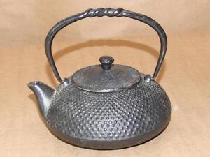 """VTG Signed JAPANESE Black Cast Iron Tetsubin Zen Tea Kettle Hobnail Pattern 5.5"""""""