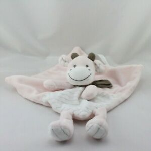 Doudou-plat-vache-rose-blanc-raye-echarpe-marron-SIMBA-TOYS-NICOTOY-Vache-Gi