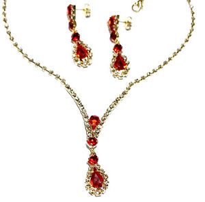 Rhinestone-Choker-Necklace-Earring-Set-Austrian-Crystal-Bridal-Gold-Tone-Red