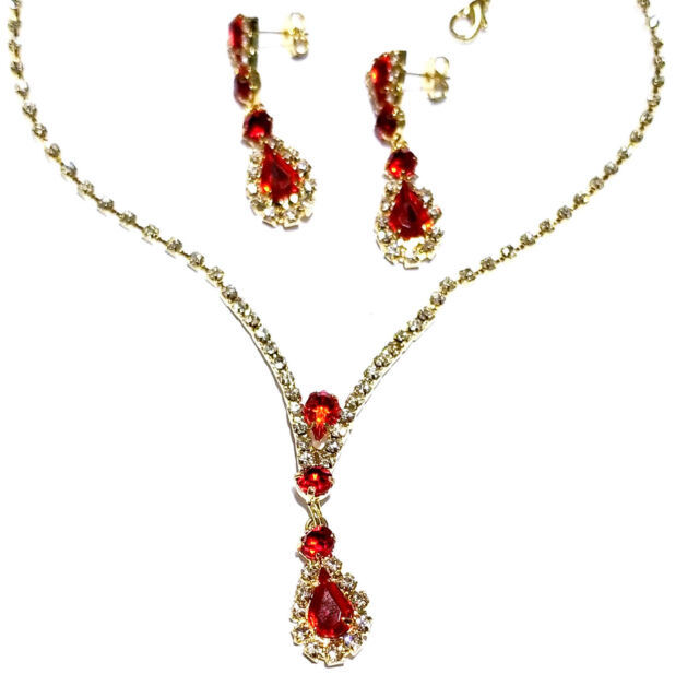 Rhinestone Choker Necklace Earring Set Austrian Crystal Bridal Gold Tone Red