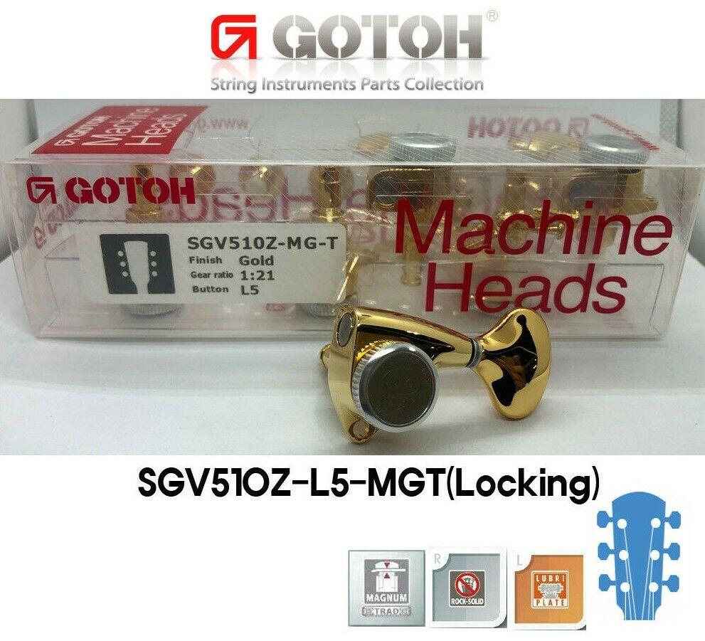 Gotoh SGV510Z-5L MGT Locking 1 21 Gear ratio L3+R3 ma ne heads w screws Gold