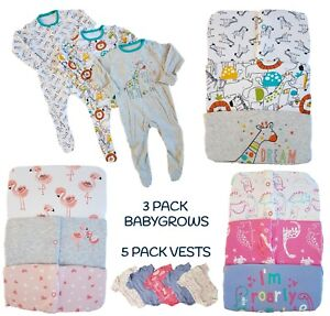 Baby-Girls-Boys-Babygrow-Sleepsuits-3-Pack-Cotton-Playsuit-Vests-Bodysuit-NEW