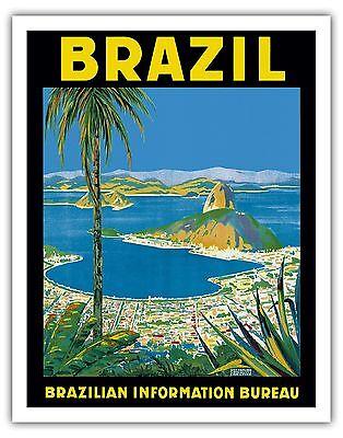 Rio Brazil Vintage Airline Travel Art Poster Print Giclee