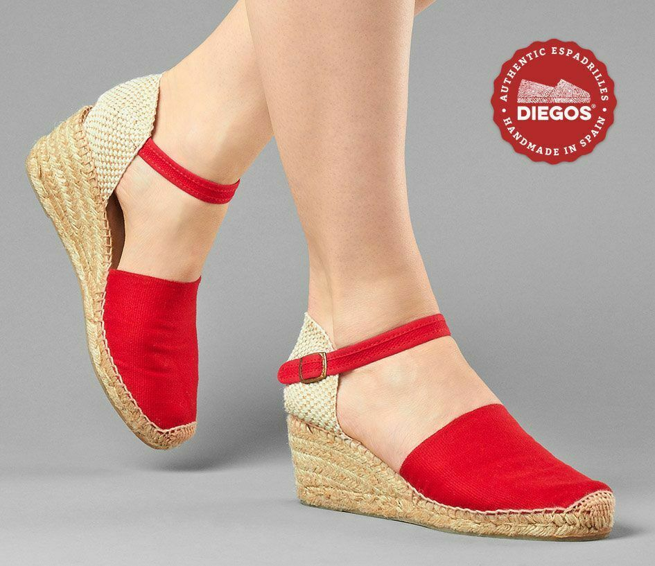 risparmia il 60% di sconto Diegos® Authentic rosso Carmen Carmen Carmen high wedge espadrilles   Hand made in Spain  economico e di alta qualità