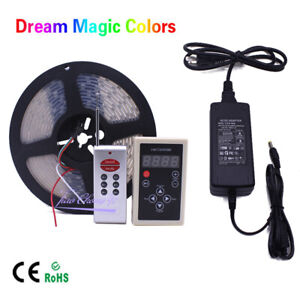 5M-Chasing-Dream-Magic-Color-RGB-5050-WS2811-IC-LED-Strip-Light-Remote-Power