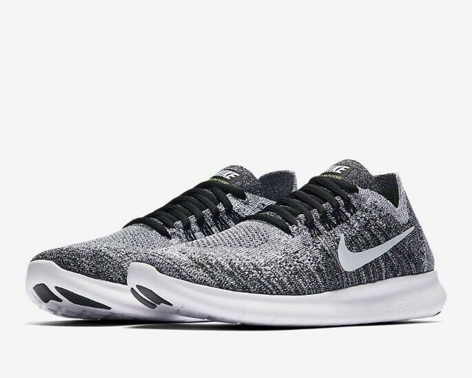 Nike FREE RN FLYKNIT 2017 UK 5 EU 38.5 Women's Running Black / Grey Oreo