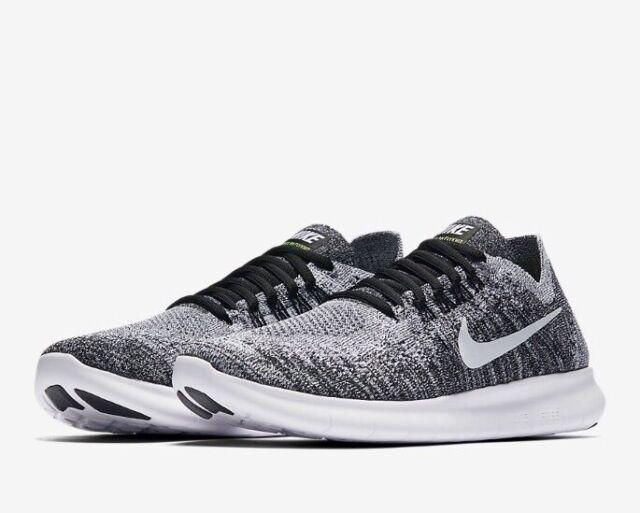 65ce144db88193 Nike FREE RN FLYKNIT 2017 UK 7.5 EU 42 Women s Running Black   Grey Oreo