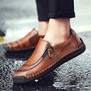 Men-Casual-Hand-Stitching-Zipper-Slip-ons-Leather-Shoes-Loafers-Fashion