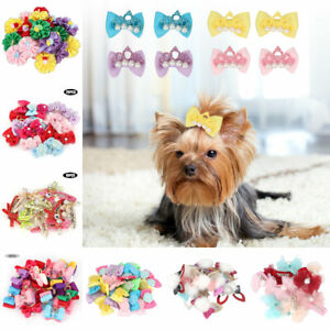 10-20-30Pcs-Pet-Dog-Hair-Bow-Rubber-Band-Small-Cat-Puppy-Bowknot-Grooming