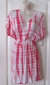 Free-Society-Pink-White-Tie-Dye-Short-Sleeve-Dress-Women-039-s-Jr-Sz-M-NWT-MSRP-48