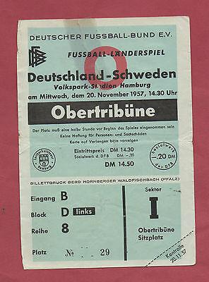 Freundschaftlich Original Ticket 20.11.1957 Deutschland - Shweden !! Extrem Selten Belebende Durchblutung Und Schmerzen Stoppen