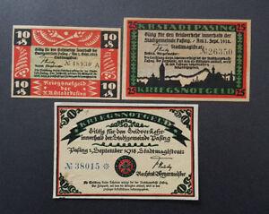 PASING NOTGELD 10, 25, 50 PFENNIG 1918 EMERGENCY MONEY GERMANY BANKNOTES (8842)