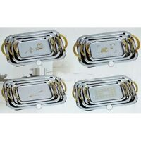 Stainless Steel snacks / cake  Silver Serving Tray Set of 3 platters silver gold