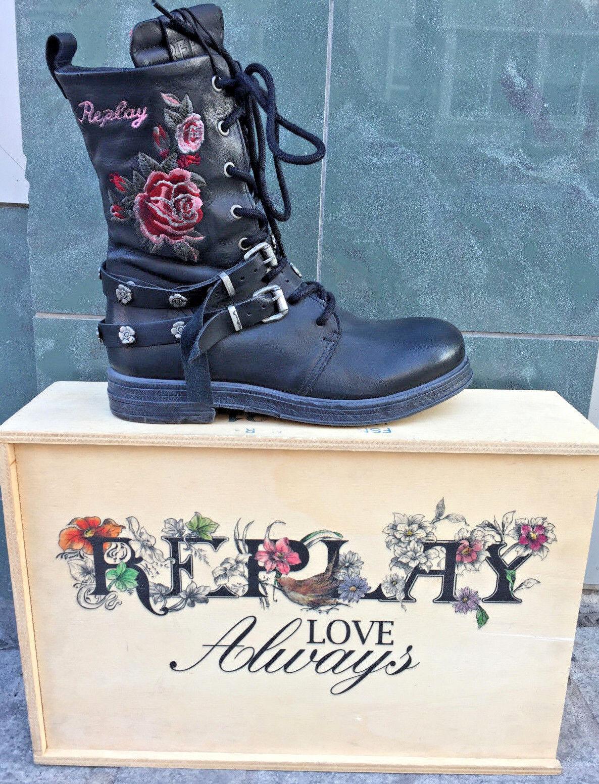 REPLAY Scarpe da Donna Scarpe Stivali Stivaletti upset Ricamo Boots in Pelle Fiori Ricamo upset a2f247