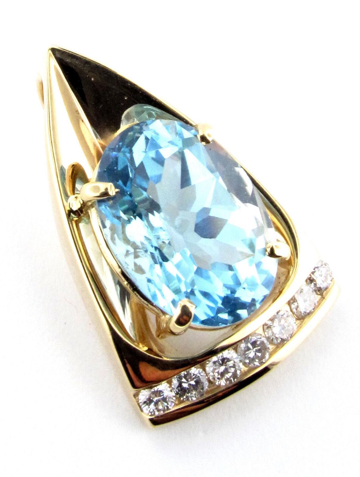 8.12 CTW LIGHT blueE OVAL TOPAZ & DIAMOND PENDANT 14 KT YELLOW gold 1  TALL  3100