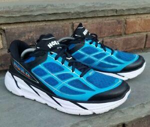 Hoka-One-One-Clifton-2-Athletic-Run-Walking-Shoes-Blue-Black-White-Mens-Sz-11-5
