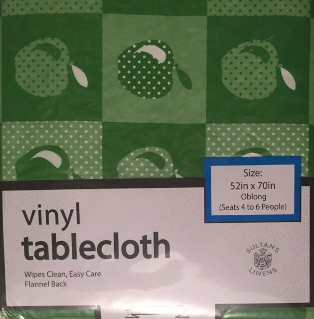Green Apples vinyl flannel back tablecloth 52 x 70 Oblong