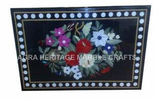 3-039-x2-039-Black-Marble-Breakfast-Table-Top-Floral-Inlay-Fine-Art-Living-Decor-E668