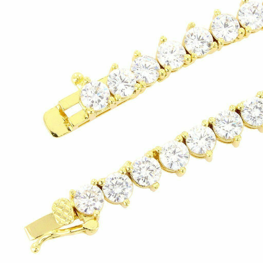 Details about  /Tennis Necklace 14K Gold Finish Lab Diamonds Iced 3mm Choker Chain 16 Inches