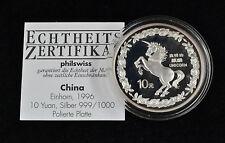 China 10 Yuan Einhorn 1996 Silber 999 Polierte Platte