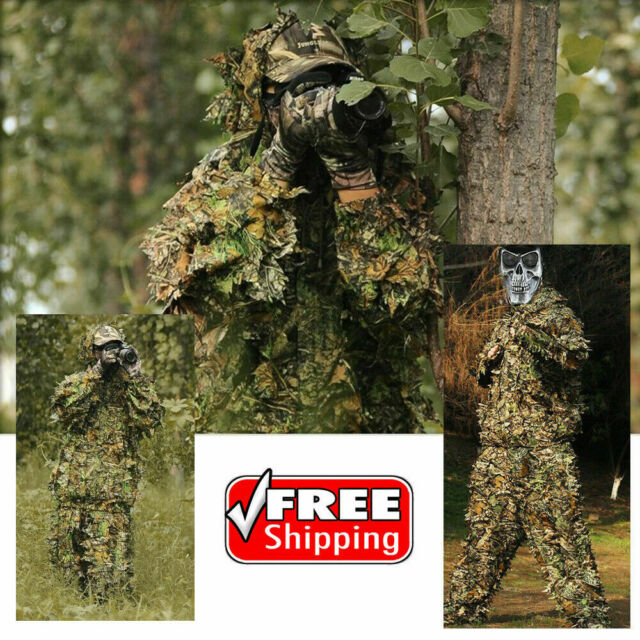 3D Camouflage Leaf Clothing Hat Gloves Woodland Hunting Camo Sniper Ghillie Suit
