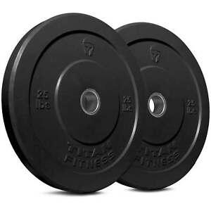 Titan-Fitness-Pair-25-lb-Olympic-Bumper-Plate-Black-Benchpress-Strength-Training